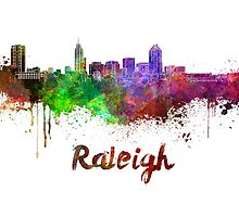 Raleigh skyline in watercolor by paulrommer
