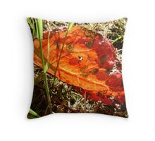 red Dock leaf Throw Pillow