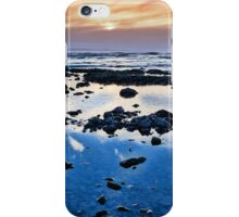 calm yellow sunset over rocky beach iPhone Case/Skin
