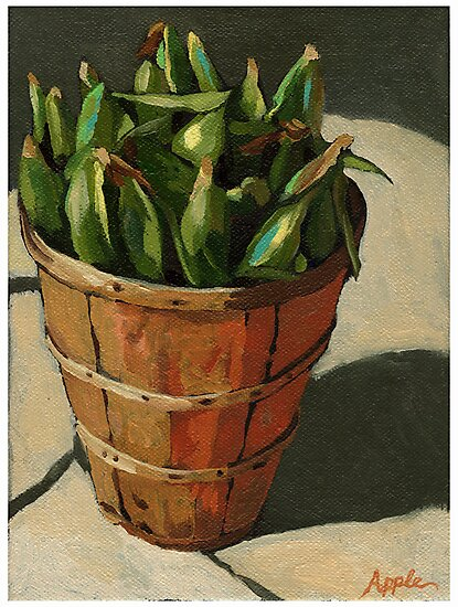 Summer Corn - vegetable still life painting by LindaAppleArt
