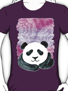 Lazy Panda on Pink & Purple T-Shirt