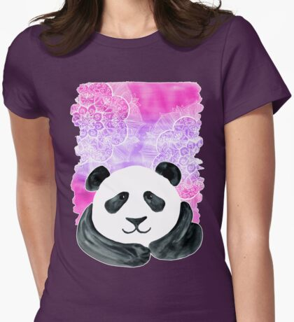 Lazy Panda on Pink & Purple Womens Fitted T-Shirt