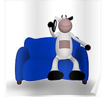 cow with phone on the sofa Poster