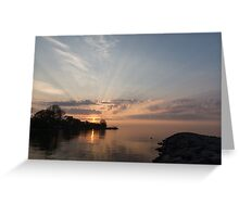 Heavenly Sunrays - Pink Sunshine Through the Clouds Greeting Card