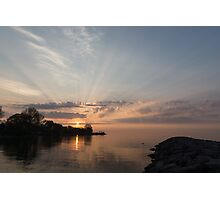 Heavenly Sunrays - Pink Sunshine Through the Clouds Photographic Print