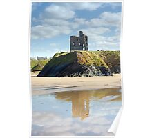 castle and beach with beautiful reflection of the clouds Poster