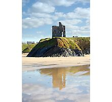 castle and beach with beautiful reflection of the clouds Photographic Print