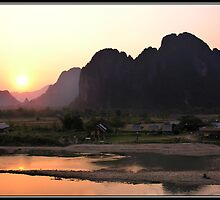 Sunset over Van Vieng by Shaun Whiteman