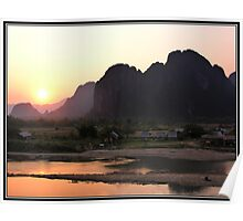 Sunset over Van Vieng Poster
