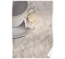 Cream Rose, Lace, and China Cup. Poster