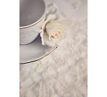 Cream Rose, Lace, and China Cup. Photographic Print