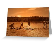 Kids, Playing on the Beach Greeting Card