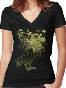 Kamikaze Raven Women's Fitted V-Neck T-Shirt