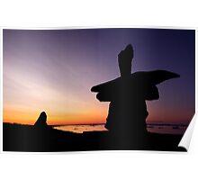 Arctic 'Inukshuk' Sunset Poster