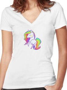 Cute chibi rainbow mane unicorn Women's Fitted V-Neck T-Shirt