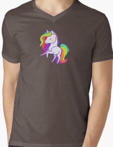 Cute chibi rainbow mane unicorn Mens V-Neck T-Shirt