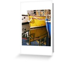 Yellow Boat Reflection Greeting Card