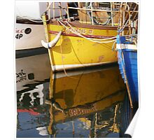 Yellow Boat Reflection Poster