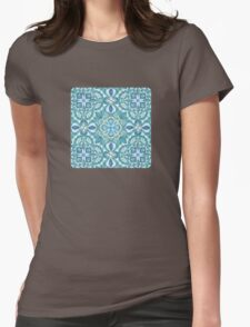 Colored Crayon Floral Pattern in Teal & White T-Shirt