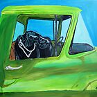 Black Lab in Old Pick-Up by John Windsor