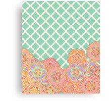 Floral Doodle on Mint Moroccan Lattice Canvas Print