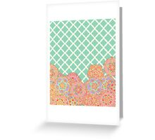 Floral Doodle on Mint Moroccan Lattice Greeting Card