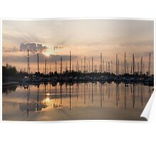Heavenly Sunrays - Peaches-and-Cream Sunrise with Yachts Poster