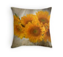 Textured Sunflowers Throw Pillow