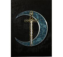 Celtic Moon and Sword Photographic Print