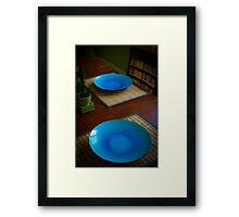 Blue Plate Setting Framed Print