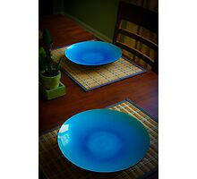 Blue Plate Setting Photographic Print