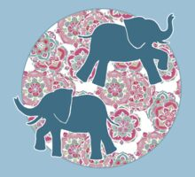 Tiny Elephants in Fields of Flowers One Piece - Short Sleeve