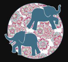 Tiny Elephants in Fields of Flowers Kids Tee
