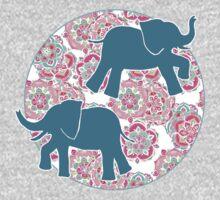 Tiny Elephants in Fields of Flowers One Piece - Long Sleeve