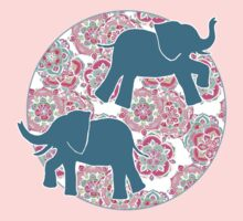 Tiny Elephants in Fields of Flowers One Piece - Long Sleeve