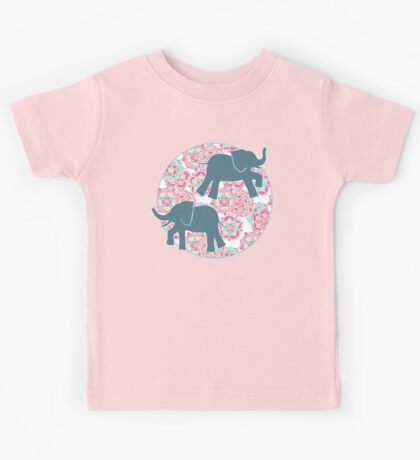Tiny Elephants in Fields of Flowers Kids Tee