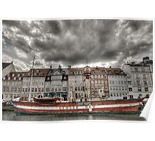 Nyhavn lighthouse boat Poster