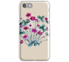 Meadow Wildflowers in Pink and Teal on Vanilla iPhone Case/Skin