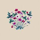Meadow Wildflowers in Pink and Teal on Vanilla by ThistleandFox