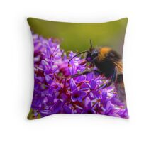 Bee collecting pollen from flower Throw Pillow