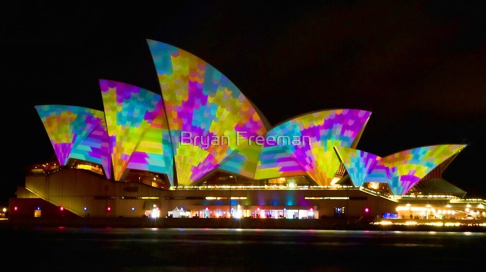 Dress Sails - Sydney Vivid Festival - Sydney Opera House by Bryan Freeman