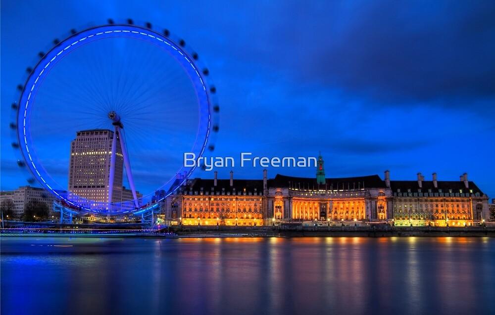 London Eye & Aquarium From Across The Thames by Bryan Freeman