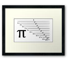 Pi, continuous fraction version Framed Print