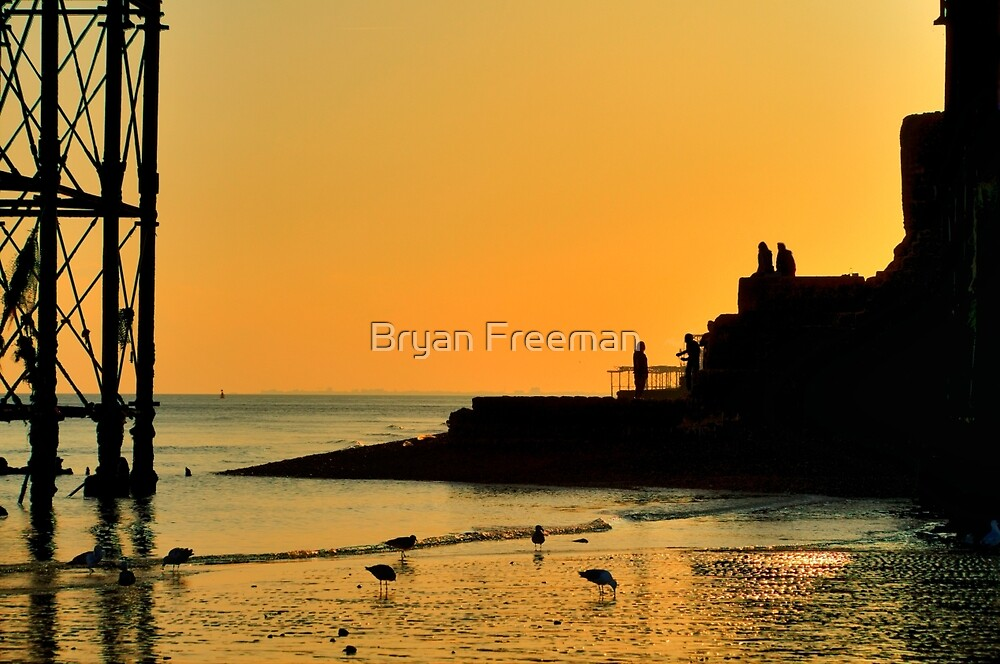 Sunset Silhouette - Brighton - England by Bryan Freeman