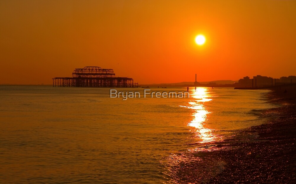 Burnished Sunset - Brighton - England by Bryan Freeman