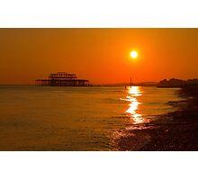 Burnished Sunset - Brighton - England Photographic Print
