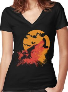 Howling Wolf Women's Fitted V-Neck T-Shirt