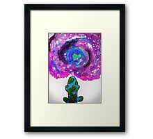 Earth and universe galaxy girl Framed Print