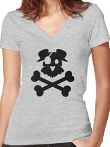 Pirate Pup - Black Women's Fitted V-Neck T-Shirt