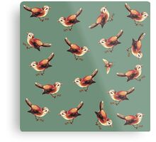 Chestnut Birds and Bee on Sage Metal Print